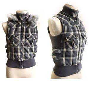 Gray Tartan Plaid Warm Hooded Vest - Small